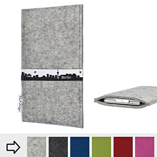 flat.design für Sony Xperia L2 Schutz-Hülle Handy Tasche Skyline mit Webband Berlin - Maßanfertigung der Filz Schutztasche Handy Case aus 100% Wollfilz (hellgrau) für Sony Xperia L2