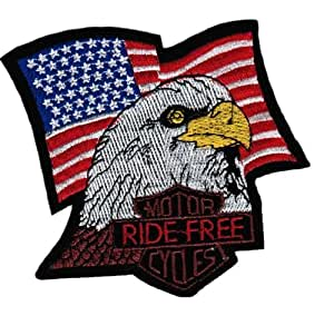 ECUSSON OU PATCH AIGLE RIDE FREE MOTOR CYCLES AVEC DRAPEAU AMERICAIN BRODE THERMO COLLANT KZA-E-A-627 AIRSOFT