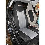 Set de fundas para asientos de automóvil, Uno para el asiento del conductor, uno para el asiento del acompañante, hechas de sintéticos (polyester), aptas para SMART FORTWO 2007-2014 (451), Gris Negro