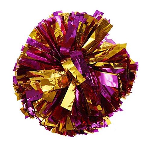 2 PCS Metallic Folie & Kunststoff Ring Pom Poms Cheerleading GOLD + ROSE (Uniformen Für Cheerleader Erwachsene)