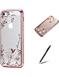 Feeltech Apple Iphone SE/5/5S/5C Étui Placage Coque Nouveau Collection Housse Avec Brillant Diamant Souple TPU Colorée Dessin Secret Jardin Motif Or Coque De Protection Couverture Arrière Anti Scratch Shock Absorption Anti-poussiere Pour Apple Iphone SE/5/5S/5C-Se leva Or blanc Henné