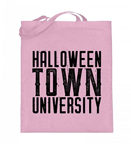 Hochwertiger Jutebeutel (mit langen Henkeln) - Halloween Town University. Zombie Nacht. Hellrosa