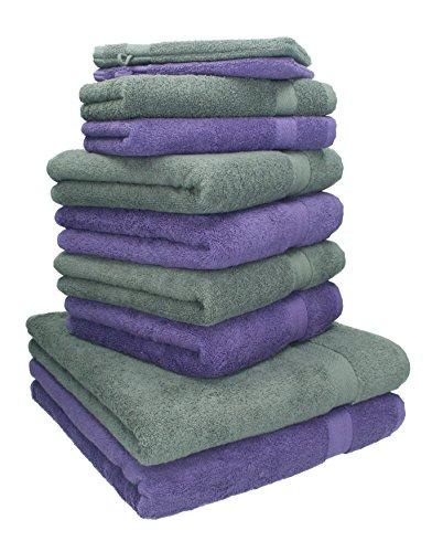 Betz. 10 pezzi. set di asciugamani 2 asciugamani da doccia, 4 asciugamani, 2 asciugamani per ospiti, 2 guanti da bagno premium asciugamano 100 % cotone colore: lilla e grigio antracite