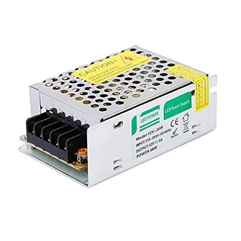 Liqoo 3A 36W Transformateur LED Transfo DC 12V Driver Alimentation AC 110V - 260V à DC 12V Convertisseur Pour Ampoule MR16 MR11 et Ruban LED