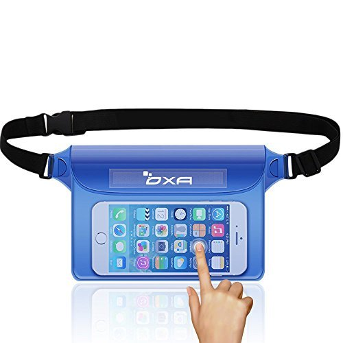 OXA Waterproof Pouch with Adjustable Waist/Shoulder Strap for Beach, Fishing, Swimming, Boating, Kayaking, Hiking, Perfect Protection for Phone, Camera, Cash, Documents From Water, Sand, Dust and Dirt (Black)