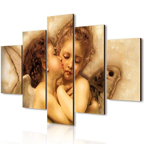Lupia vogue quadro su legno 5 pezzi il primo bacio 66x115 cm