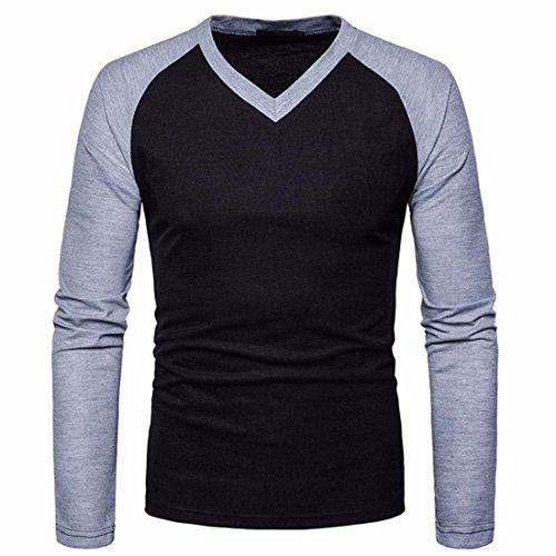 Btruely Herren T-Shirt Junge Bluse Männer Langarm Shirt V-Ausschnitt Top Slim Fit Hemden Herren (L, Schwarz)