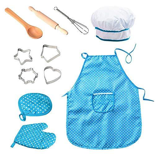 (Womdee 11-teiliges Koch-Set für Kinder, professionelles ungiftiges Kinderkoch- und Backset, mit Kochmütze + Schürze + Handschuh + Utensili, für 3jährige Mädchen und Jungen, Rot blau)