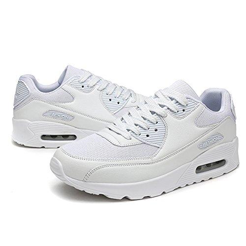 Young & Ming Trendige Unisex Laufschuhe Damen Herren Sneaker Sport Fitness Turnschuhe Freizeit Profilsohle Bequeme Frauen Schuhe Running Shoes Dämpfung Low Top Sportschuhe(Weiß,45 EU)