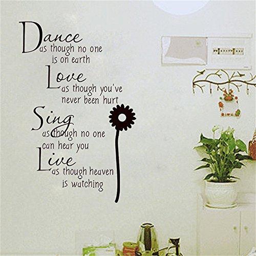 wandaufkleber fenster Tanz, als ob niemand auf der Erde Liebe ist, als ob du nie verletzt worden wärst, singe live für Wohnzimmer