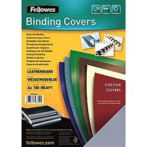 Fellowes 5371403 - Couvertures Delta Grain Cuir Certifiées FSC - Bleu clair A4 - Lot de 100