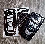 Schwarz Kohlenstofffaser Glanz Schlüssel Aufkleber für Alle BMW F Serie M Sport, X-Drive, Serie 1, 2, 3 4 5 6 7, X1, X2, X3, X4,X5,X6, Z1,Z3,Z4, Z8,M1,M2, M3,M4,M5,M6