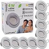 Lumaro LED Einbauspot Extra Flach 4W 230V IP44 9er Set (Leuchtmittel austauschbar) 400lm schwenkbar warmweiss für Feuchtraum und Wohnraum Mini Einbaustrahler Deckenspot weiss rund
