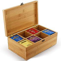 Tea Box Organizer Naturbambus, Aufbewahrung von Teebeuteln 8 Fächer größer für über 120 stehende oder flache Teebeutel für Kaffee, Tee, Zuckerbeutel, Süßungsmittel, Cremes, Getränkekapseln und mehr