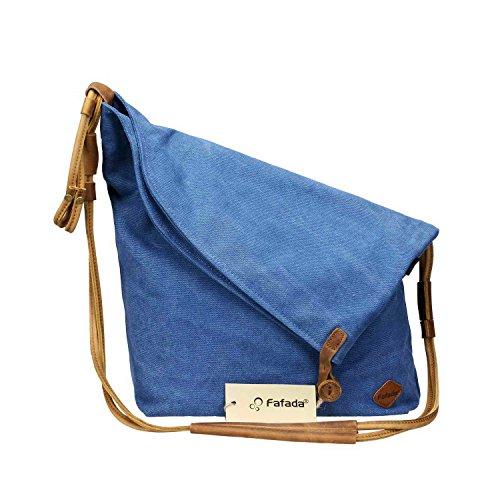 Fafada Canvas Unisex Tasche retro literarischen Hochschule Stil Schultertasche Messenger Bag Blau Umhängetasche Blau