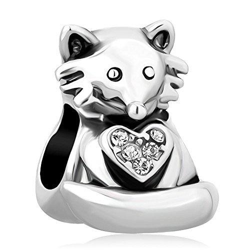 Korliya Fox Tier mit Herz weiß Kristall Charm Bead für Armband -