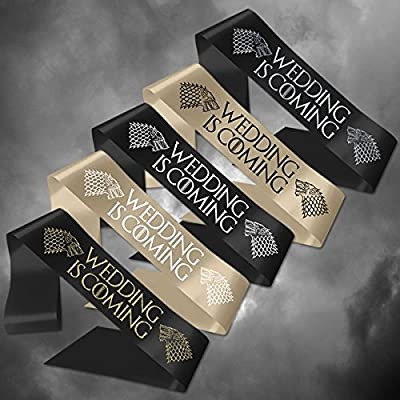 Personalised Sash Game of Thrones 'Wedding is Coming' Ribbon Wedding Any Wording Customisation Birthday Hen Party Stag Do Baby Shower Celebration