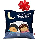 Best Couples Gifts - Indigifts 12X12-inch Satin Dark Blue Couple Cushion Cover Review