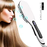 Haarglätter Bürste elektrische Haarbürste Professionelle Glättbürste Temperatursteuerung Haarpflege Keramik Heizung Antistatische keine Haarschäden Straight Hair Comb (Weiß)