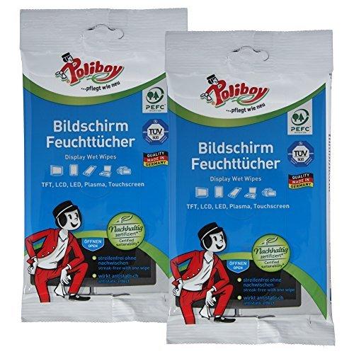 Poliboy Flachbildschirm Feuchttücher, 2er Pack (2 x 30 Stück)