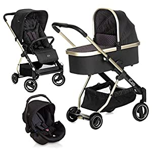 iCOO 151532 - Buggy, Color Diamond Caviar Cosatto Includes - Pram & Pushchair, Hold Car seat, Adaptors, Apron and Raincover Suitable from birth up to 15kg, One unit transforms from newborn pram mode into pushchair mode. Space saving. No need to buy separates. 'In or out' facing pushchair seat lets them bond with you or enjoy the view. 8