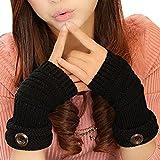 TININNA Invierno Cable Knit de punto sin dedos Guantes calentadores de muñeca para Mujeres Niñas con Diseño Botón Negro