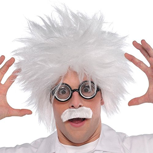 Kostüme Wissenschaftler Verrückter (Verrückter Wissenschaftler Einstein Kostüm-Set - Perücke, Brille &)