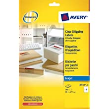 AVERY J8565-25 200 Transparent Adhesive Delivery Labels Customisable 99.1 x 67.7 mm Printing: Inkjet