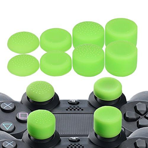 YoRHa Professionelle Aufsätze Daumengriffe Thumb Grips Thumbstick Joystick Cap Cover (Grün) Extra Hoch 8 Stück Pack für PS4, Switch PRO, PS3, Xbox 360, Wii U Tablet, PS2 Controller