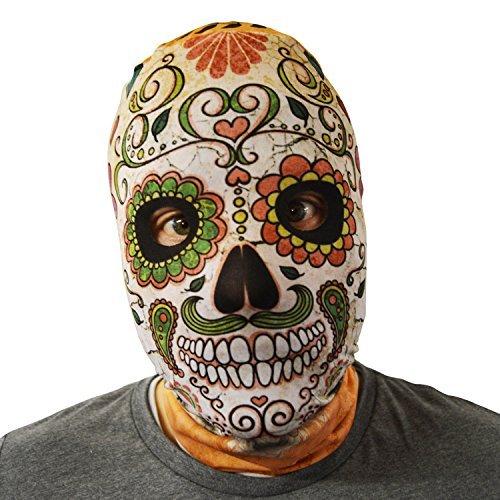Kostüme Toten Schädel Tag Der (gruselig Halloween Gesichtsmaske Tag der Toten Schädel orange-grün Kostüm)