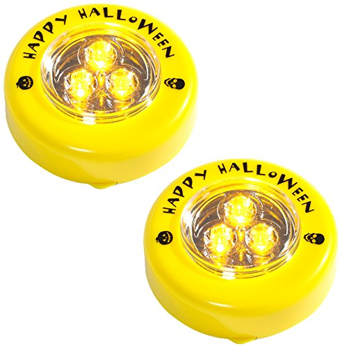 Brauns Heitmann 2er Set LED Kürbislicht mit Flackereffekt und gelbem Licht, 7 cm