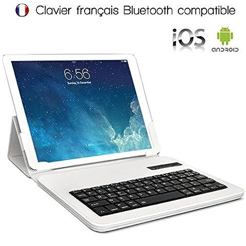 Seluxion - Etui Blanc Universel S Clavier Azerty Bluetooth pour