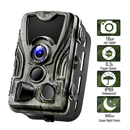 Jagd-Spiel-Kamera 1080P 16MP Wildlife-Kamera, Bewegungsaktivierte 940nm IR-LEDs Nachtsichtgerät IP65 Wasserdicht, mit 120 ° Weitwinkel