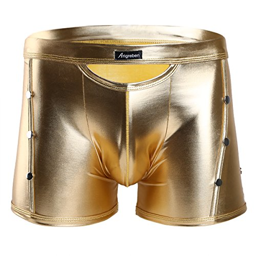 Tiaobug Herren Boxershorts Slip Unterwäsche Wetlook schwarz Lackleder Boxer Briefs Unterwäsche Trunk Pants M-XXL Gold L