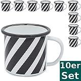 bonsport 10 x Emaille Tasse Becher 350 ml - Hochwertiger Emaillebecher mit Zebra Streifen Muster