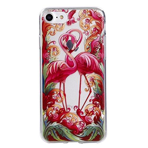 Cover per iphone 7 / iphone 8, Custodia per iphone 7 / iphone 8,Cozy Hut iphone 7 / iphone 8 Silicone Case Ultra-thin Shock-Absorption TPU Gel Silicone Protettivo Skin Custodia Protettiva Shell Case C Coppia di Flamingo