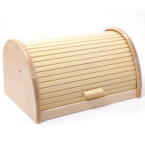 HolzFee BK-BR Buche Brot-Kasten 39 cm Holz Brotbox Rollkasten (Vanille)