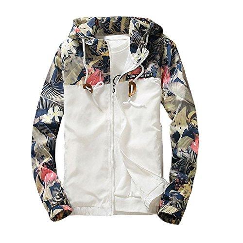 Männer Unterwäsche, Weiße (Jacke Herren DAY.LIN Männer Schlank Stehkragen Jacken Mode Sweatshirt Jacke Oberteile Lässiger Mantel Outwear Lässige Herren Sportjacken (Weiß, L=EUM))