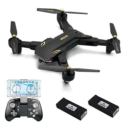 REDPAWZ Drone con Cámara 1800mAh VISUO XS809S BATALLAS Sharks 720P WiFi FPV Plegable con HD Gran Angular Cámara RC Quadcopter RTF - Negro