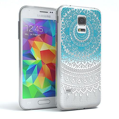 EAZY CASE GmbH Hülle für Samsung Galaxy S5 Mini Schutzhülle Silikon Mandala Design, Slimcover Henna, Handyhülle, TPU Hülle/Soft Case, Silikonhülle, Backcover, indische Sonne, transparent, Blau/Weiß
