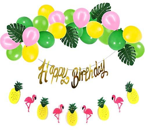 Party Geburtstag Deko Happy Birthday Girlande Gold und Flamingo Ananas Banner Bunt Luftballons mit Tropische Blätter für Geburtstag Partydeko Hawaii Party ()