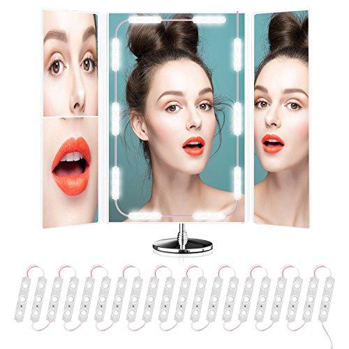 8 Lampe Vanity Licht (Beauty Star Hollywood-Stil LED Spiegelleuchte Vanity Mirror mit 60 LEDs/11Ft, Touch Dimmer Schalter und Netzteil Plug für Make-up Schminktisch, Spiegel Nicht Inbegriffen)