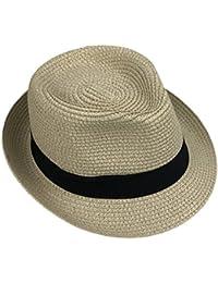 Leisial Enfant Panama Chapeau de Paille Anti-soleil Respirant Anti UV été  Loisir Voyage Chapeau 2a6baabfb07