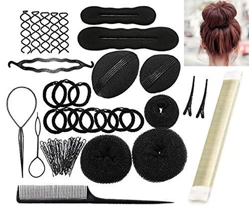 Frisurenhilfe Set mit DEUTSCHER Anleitung - Einfache Frisuren für jeden zum Nachmachen! - Frisur Hilfe Set für lange Haare mit viel Zubehör (Blond)