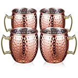 SUPERSUN Set 4er Moscow Mule Becher, Kupferbecher Moscow Mule Mug Kupfer Becher Set of 530ml für Spicy Ginger Beer, Beer, Party Becher, Kupfer Becher, Bar Set, Geschenk