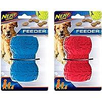 Hasbro Nerf Dog (2-Pack) Pneumatico Treat Feeder Cane Giocattolo, Rosso/Blu, Grande