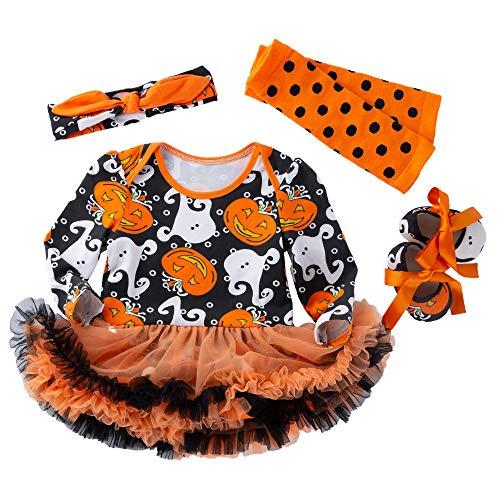 VENI MASEE Baby Mädchen Halloween Outfit Kostüm Kürbis Strampler Tutu Rock mit Stirnband Beinwärmer Schuhe Set,4 Farben(S-XL)