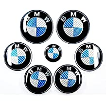 Juego de tapacubos y emblemas para volante, capó y maletero de fibra de carbono, diseño de logotipo de BMW, apto para BMW Serie 3, E46, E90, E91 y M3