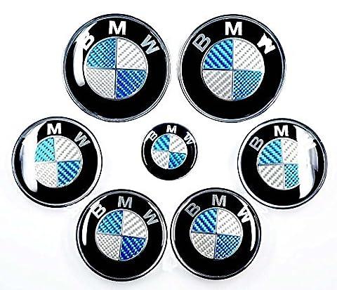 Lenkrademblem-Set, für BMW 3er Serie (E46 E90, E91, M3), für Lenkradnabe, Front- und Heckemblem, Carbon
