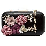 J&F Sac de Soirée Féminin Wallet Sac à Main Fleur Portefeuille de Perles Handbag élégant Sac Pochette